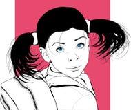Porträt eines kleinen Mädchens, das zur Schule geht stock abbildung