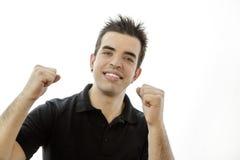 Porträt eines lächelnden glücklichen jungen Mannes Stockbilder