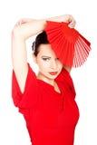 Porträt eines Latinotänzers, der rotes Kleid trägt Lizenzfreies Stockfoto