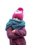 Porträt eines Mädchens in einer Kappe und in einem Schal stockbilder