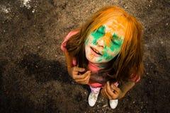 Porträt eines Mädchens für indisches Festival von Farben Holi Lizenzfreies Stockfoto