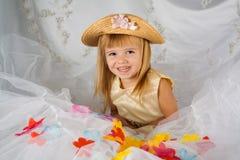 Porträt eines Mädchens im Gold Lizenzfreie Stockfotografie