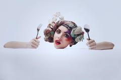 Porträt eines Mädchens mit einem ungewöhnlichen Make-up Lizenzfreies Stockbild