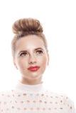 Porträt eines Mädchens mit einer reinen Haut in einem hohen Schlüssel Lizenzfreie Stockbilder
