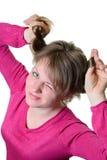 Porträt eines Mädchens nett Blinkt ein Auge Lizenzfreies Stockfoto