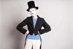 Porträt eines männlichen Pantomimekünstlers Concept von April Fools Day Lizenzfreie Stockfotografie