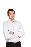 Porträt eines Mannes auf einem weißen Hintergrund Stockfotos