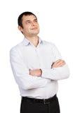 Porträt eines Mannes, der oben schaut Stockfoto