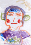 Porträt eines Mannes mit den grünen Ohren Stockfotografie