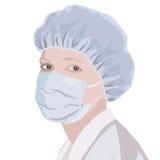Porträt eines Mediziners in der Maske und in der Kappe lizenzfreie abbildung