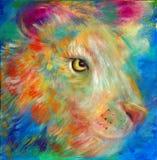 Porträt eines Mehrfarbenlöwes Stockbild