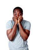 Porträt eines nerveous afrikanischen Mannes Lizenzfreie Stockfotografie