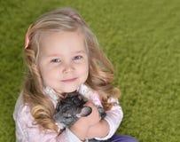 Porträt eines netten Mädchens, das mit Chinchilla spielt stockbilder