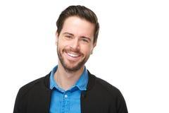 Porträt eines netten Mannes mit dem Bartlächeln Stockfotografie