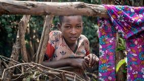 Porträt eines nicht identifizierten äthiopischen Jungen lizenzfreies stockfoto