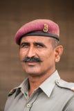 Porträt eines nicht identifizierten Militärschutzes Stockbilder