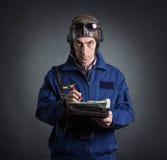 Porträt eines Piloten Stockfotografie