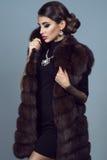 Porträt eines schönen bezaubernden Modells, das schwarzes Kleid, Zobeljacke und Zubehör trägt stockfotos