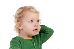 Porträt eines schönen blonden Babys Stockbild