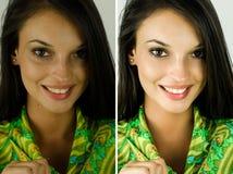 Porträt eines schönen Brunettemädchens vor und nach Retusche mit photoshop Lizenzfreie Stockfotos