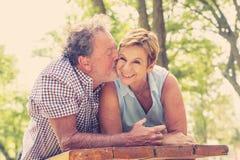 Porträt eines schönen glücklichen älteren Paares in der Liebe, die im Park sich entspannt stockbild