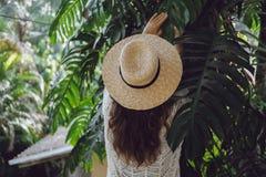 Porträt eines schönen Mädchens mit einem Hut in den Blättern einer Palme Stockfoto