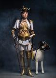 Porträt eines schönen steampunk Mädchens mit Spazierstock und tun Stockbild