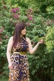 Porträt eines sinnlichen schönen Brunettemädchens mit dem langen Haar im gelb-schwarzen Kleid des Leoparden gehend in den Pa Lizenzfreie Stockfotografie