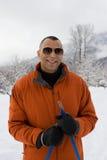 Porträt eines Skifahrers Stockfotos