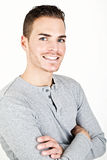 Porträt eines sportiven jungen Mannes lokalisiert auf Weiß Stockbild