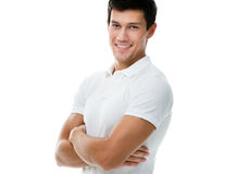 Porträt eines sportiven Mannes mit den Armen gekreuzt Stockfotos