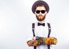 Porträt eines stilvollen Hippies Stockfotos
