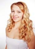 Porträt eines weiblichen Baumusters auf weißem Hintergrund stockbilder