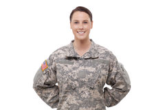Porträt eines weiblichen Soldaten Stockfotos