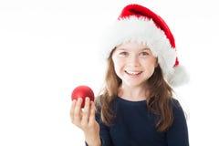 Porträt eines wenigen glücklichen netten Weihnachtsmädchens Lizenzfreie Stockbilder