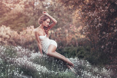 Porträt im Freien der jungen Frau sitzend auf dem Feld Lizenzfreie Stockfotos