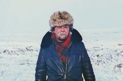 Porträt im Freien des jungen sowjetischen Goldprospektors Lizenzfreie Stockfotografie