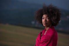 Porträt im Freien einer schwarzen Frau mit einem Schal Lizenzfreies Stockbild