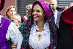 Porträt im traditionellen sardinischen Kostüm Stockfotos