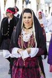 Porträt im traditionellen sardinischen Kostüm Lizenzfreie Stockbilder