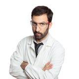 Porträt jungen europäischen Doktors lokalisiert Lizenzfreies Stockfoto
