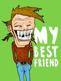 Porträt meines besten Freunds Passend für ein Plakat, ein Geschenk oder eine Zeichnung auf einem T-Shirt stock abbildung