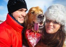 Porträt mit Hund Lizenzfreie Stockfotos