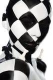 Porträt mit Schachmake-up und -stücken Stockbilder