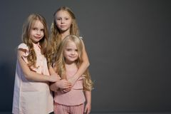Porträt-Mode mit drei grauer Hintergrund der schönen Schwestern der kleinen Mädchen stockbilder