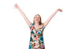 Porträt netter glücklicher junger Dame, die ihre Arme verbreitet Lizenzfreie Stockbilder