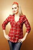Porträt Pin-oben der schönen Hausfrau Lizenzfreie Stockfotografie