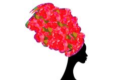 Porträt-schöne Afrikanerin im traditionellen Turban, Kente-Kopfverpackung afrikanisch, traditionelles dashiki Drucken, rosa Stoff lizenzfreie abbildung