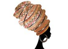 Porträt-schöne Afrikanerin im traditionellen Turban, Kente-Kopfverpackung afrikanisch, traditionelles dashiki Drucken, schwarze A vektor abbildung