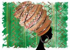 Porträt-schöne Afrikanerin im traditionellen Turban, Kente-Kopfverpackung afrikanisch, traditionelles dashiki Drucken, schwarze A lizenzfreie abbildung